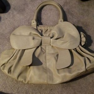 Gray leather bow tote bag w/ flower embellishments